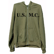 Mens Olive Drab U.S.M.C. Zipper Hooded Sweatshirt
