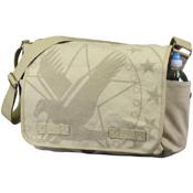 Vintage Canvas Messenger Bag - Khaki with Subdued Army Eagle Print